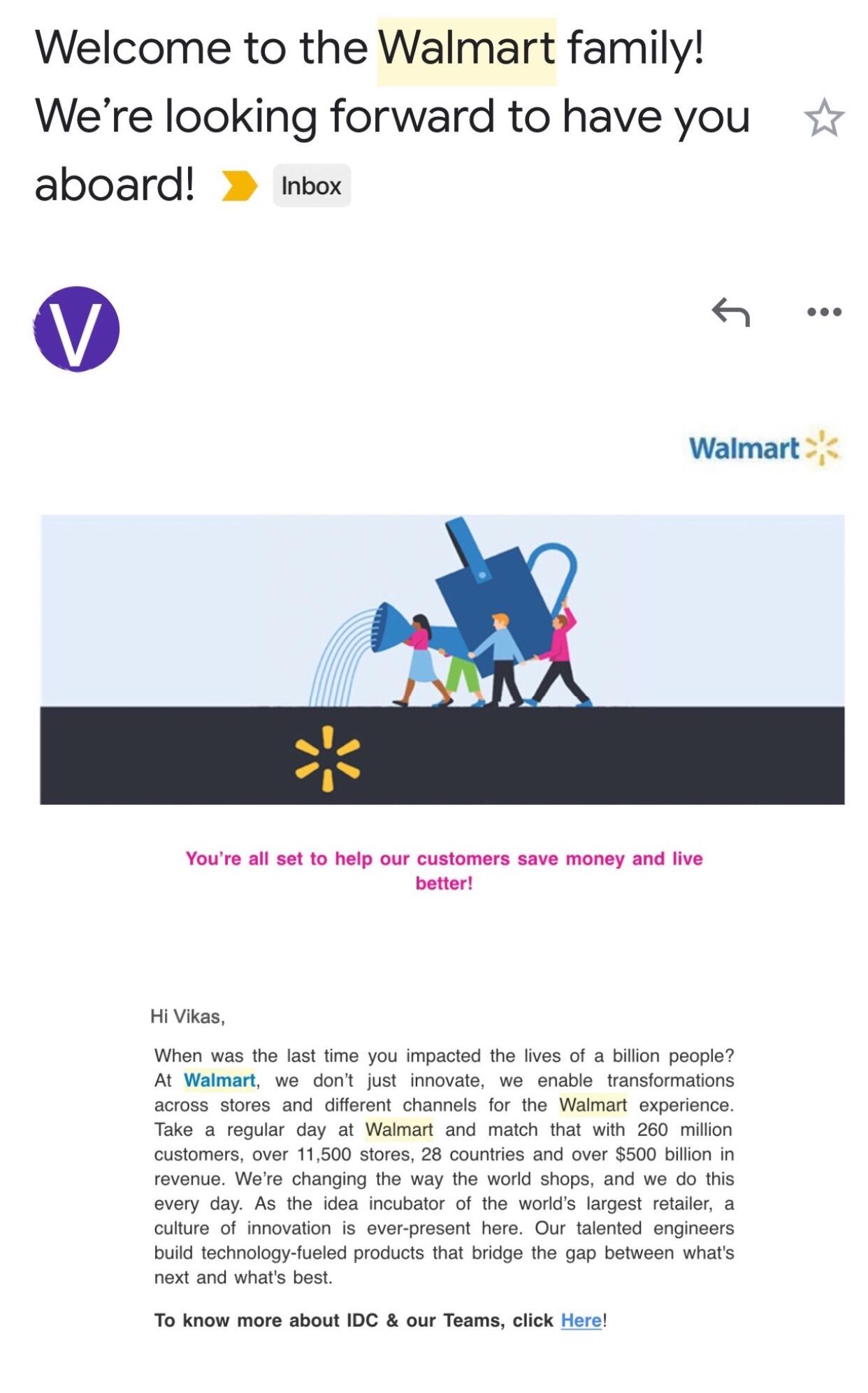 Vikas placed in WalmartLabs